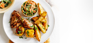 Cajun chicken with spicy potato wedges and coleslaw - Recipes ...