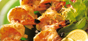 Grilled spicy tiger prawns