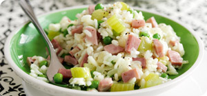 Ham risotto with peas and sweetcorn