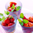 Pimm's, strawberry and mint cups